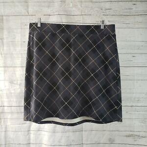 Torrid Womens Ponte Mini Skirt Sz 2 Gray Black Plaid Pull On