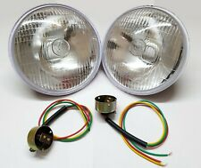 "2 LUCAS 700 HEADLAMP 7"" INCH HEADLIGHT & BULB HOLDER (MARKED LUCAS) BIKES & CARS"