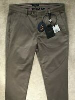 "TED BAKER MEN'S BROWN ""RECTANG"" SLIM FIT TROUSERS PANTS CHINOS - 32L - NEW TAGS"