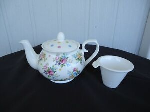 ashdene floral  rose polka dot bone china teapot with infuser