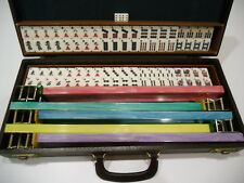 Vintage Mahjong Game Set with Carrying Case, 152 Tiles & 5 Colored Racks, Dice