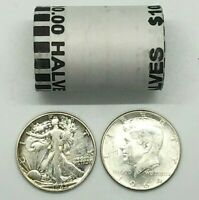 Walking Liberty & Kennedy 90% Silver Coin Lot AND(&) Unsearched Half Dollar Roll