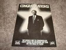 CHEVY CHASE 1993 congrat ad for Hollywood Walk of Fame Star, Saturday Night Live