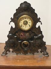 Antique Cast Iron Clock with Golden Decoration Perfect Working Condition