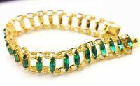 Vintage Green Emerald stone glass link bracelet. 1950s.