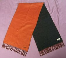 Hermes Women's Orange Dark Grey Two Tone Cashmere Scarf Good Used Condition