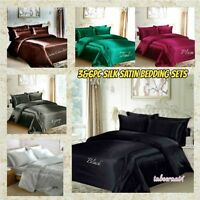 New 6PC Silk 100%Satin Duvet Cover Set Smooth to Touch Bedding with4x Pillows