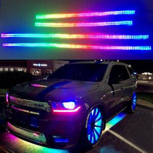 2pcs 4FT + 2pcs 6.5FT Double Row Color Chasing Underglow LED Kit Bluetooth IP68