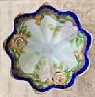 VINTAGE 1950's HAND PAINTED FOOTED PORCELAIN SERVING BOWL WITH GOLD TRIM - JAPAN