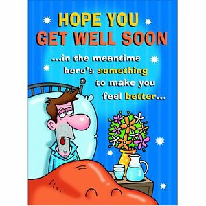 Doodlecards Funny Get Well Soon Greeting Card - Medium