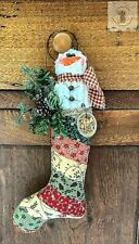 "10""Handmade Chenille Snowman in Stocking w/ Greens Country/Farmhouse/Primitive"