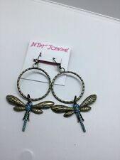 Betsey Johnson Dangly Large Gold-Tone Blue Crystal Dragonfly Gypsy Hoop Earrings