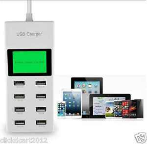 8 USB Port 9.2A High Speed Power Adapter Charger With LCD Display For iPad Tab