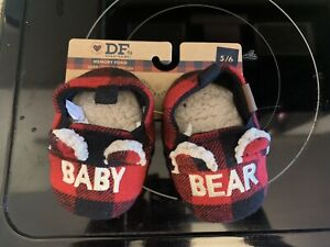 NEW, DEARFOAMS BABY BEAR PLAID SLIPPERS, SIZE 5-6