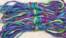 hand dyed cord 5 yds sari silk  wildflowers fair trade trim kumihimo jewelry