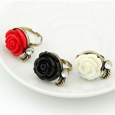 Women Adjustable Vintage Ring Lady's Rhinestone Rose Flower Ring  Bronze Plated