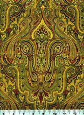 Fabric #2159 Brown Rust Paisley Jinny Beyer RJR Sold by 2/3 Yard Panel See Below
