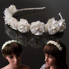 H5152* Haarreif Kommunion Braut Blumen Satin Blumenmädchen creme Hochzeit Feste