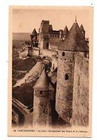 11 - cpa - Cité de CARCASSONNE - Perspective des tours et le château