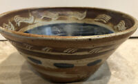 Hand Made Pottery Bowl Clay Ceramic Hand Paint Signed NH 95