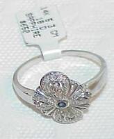 14k Sapphire Diamond Filigree Ring Antique design White Gold Sz 11.75 New Tag