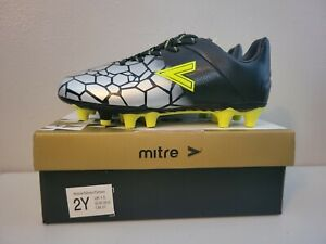 New with box Mitre Youth Soccer Cleats Size 2Y Silver/Black/Neon Green Unisex