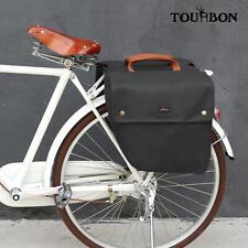 Tourbon Vintage Bike Bag Rear Waterpoof Canvas Roll-up Double Pannier Bag Black