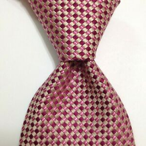 HUGO BOSS Mens 100% Silk Necktie ITALY Designer CHECKERED Pink/Ivory Classic EUC