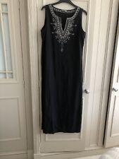M&S BLACK LINEN  Sleeveless MAXI dress Size 14