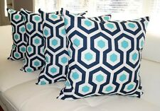 Aqua and Navy Pillow, Magna Oxford Navy Outdoor Decorative Throw Pillow - 4 Pk