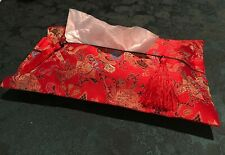 """Chinese Tapestry Satin Red Tissue Box Cover 8 3/8"""" x 14"""""""