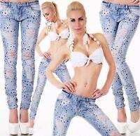 Damen Hüft Jeans Hose Röhrenjeans Skinny Slim Fit Risse Destroyed Sterne XS-XL