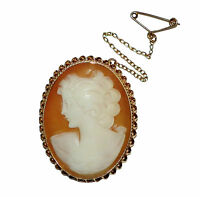 Vintage 9ct Yellow Gold & Shell Cameo Brooch With Safety Chain