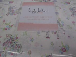 Nicole Miller Kids Girls White Pink Blue Purple UNICORN Floral Sheet Set - Twin