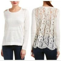 CAbi M Women's Sophia Sweater Top #5005 Ivory White Lace Back