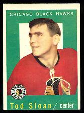 1959-60 TOPPS HOCKEY #13 TOD SLOAN EX-NM CHICAGO BLACK HAWKS CARD