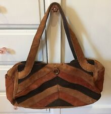 Lucky Brand Brown Suede Leather Zippered Hobo Tote Bag Purse