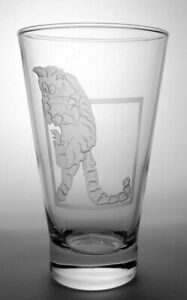 """Hand Engraved Cat Lovers Glass #2 - """"The Great Escape"""""""