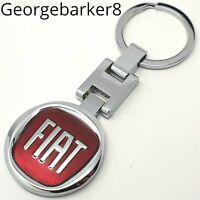 FIAT Red Logo Punto Panda 500 Bravo Metal Keyring key chain with Gift Box