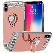 Rose Gold Mirror Bling Case For The New Apple iPhone X Ring Holder Stand Cover