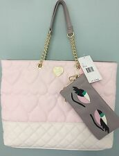 BETSEY JOHNSON Quilted Hearts Blush Tote Bag NWT W/ Phone Pouch $118 Retail
