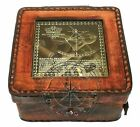 4 Inches Sextant Marine Antique Handmade Full Brass Vintage/Leather Box free