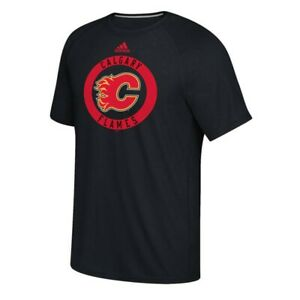 Calgary Flames NHL Adidas Men's Black Practice Graphic Climalite T-Shirt