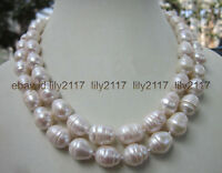 LONG 35 INCH 7-9MM NATURAL WHITE FRESHWATER Cultured BAROQUE PEARL NECKLACE