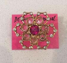 NWT Rare Betsey Johnson LARGE Pink Crystal rhinestones Flower Gold Ring 7.5