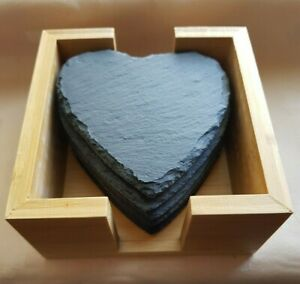 6 Heart shaped slate coasters mats + wooden holder rustic wedding party