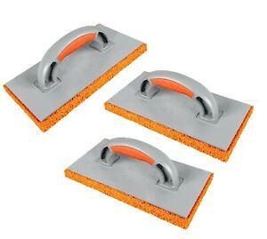 3 x Orange Sponge Float Rubber 280mm Plastering Skimming Rendering Rough Coarse