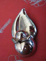 1940s NAPIER Rose Gold on Sterling Silver Vermeil FUR CLIP Squash Blossom Lily