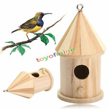 Wooden Bird House Birdhouse Hanging Nest Nesting Box W/ Hook Home Garden Decor