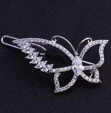 USA Hair Clip use Swarovski Crystal Hairpin barrette Wedding Butterfly Silver 02